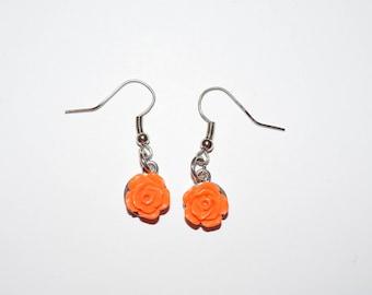 Orange Rose Earrings, Earrings, Rose Jewelry, Ear Jewelry, Roses, Orange Roses, Piercings
