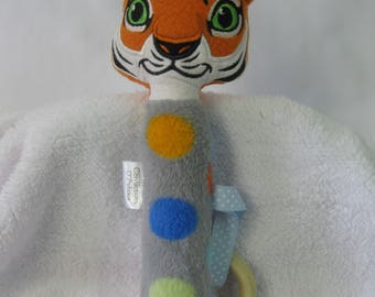 Tiger toy dentiton ring rattle