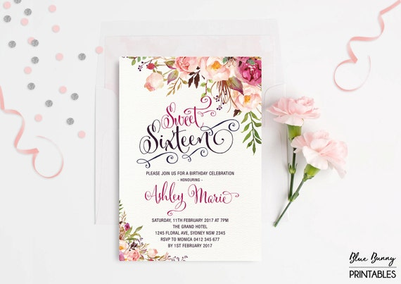 Sweet sixteen invitation floral sweet 16 birthday party invite il570xn solutioingenieria Choice Image