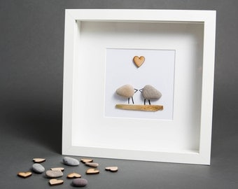 Love Birds - love art - wall art - pebble art - pebble picture - valentines gift - wedding gift - personalised gift - love picture