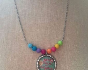 Keep Calm and LuLaRoe Whimsical Beaded LULAROE themed Necklace bottlecap Pendant