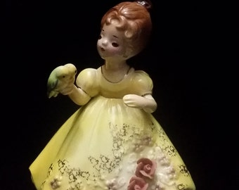 Vintage Josef Original of Girl in Yellow Dress with Love Birds.