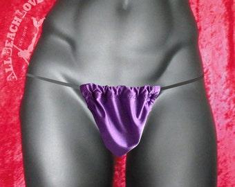 Purple, Men's Thong, G-String, Size Regular, Maximum tan, Barely there feelin, Naturist, Comfortable minimal wear, Hot, Sexy, Natural