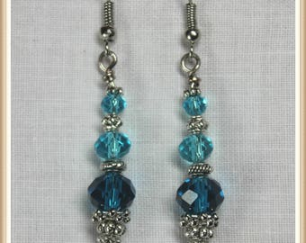 Silver and Aqua Blue Crystal Dangle Earrings