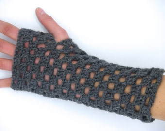 Mittens crochet, handmade, gray mitten, glove without fingers, accassoire winter, without finger mitten