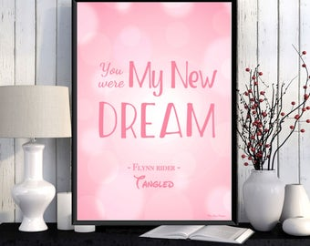 Disney print, Disney quote, Tangled movie, Disney poster, Girl room wall decor, Disney princess, Children poster, Kids decor, Nursery print