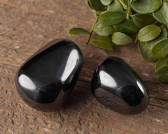 2 Medium Tumbled Jet Stones - Tumbled Stone, Healing Crystal, Healing Stone, Black Amber Black Stone, Petrified Wood Root Chakra Stone E0337