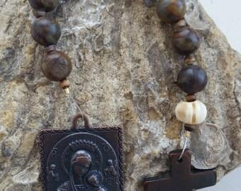 Roman Catholic Tenner Pocket Rosary Our Lady of Perpetual Help Christian Prayer Beads - Bamboo Jasper, Striped Agate, Bone Beads
