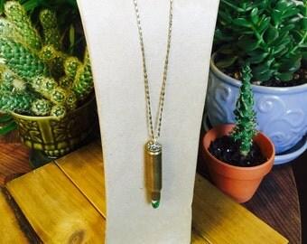 Green jasper bullet shell necklace