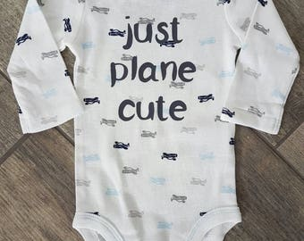 SALE - Reg. 16 dollars - Just Plane Cute - airplanes - baby bodysuit - ONE OF A Kind - baby accessories - size 0-3 months