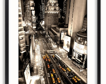 New York City - Times Square Yellow Cabs Aerial Poster
