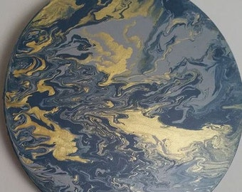 Circle Canvas Acrylic Marble Effect Painting - Metallic Gold, Grey & Smoky Blue