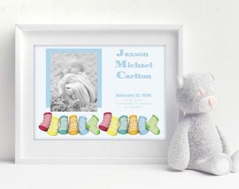 Baby Birth Announcement, Nursery Artwork, Newborn Gift, Baby Birth Stats, New Parent Gift, Baby Booties, Personalized Newborn Gift, Baby Pic