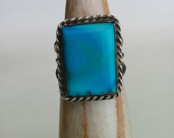 Sterling Silver and Turquoise Vintage Handmade Navajo Rectangular Braided Ring signed 'C'