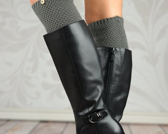 Barrel Knit Boot Cuffs with Button - Gray