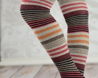 Brown Rainbow Striped Leg Warmers