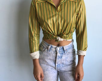 Vintage sz S/M green striped 70s shirt