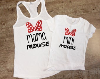 Mama Mouse Mini Mouse Mouse Ears Magic Castle Ladies Tee Shirt Girls Shirt Mommy and Me Shirt Set Trendy Fashion V Neck Mouse Tee Shirt