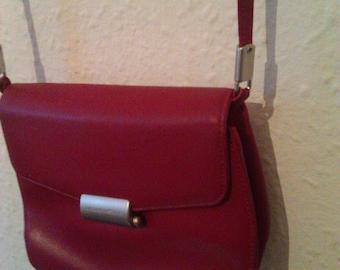 Vintage Italian leather crossbody  bag Red Mandarina Duck shoulder bag