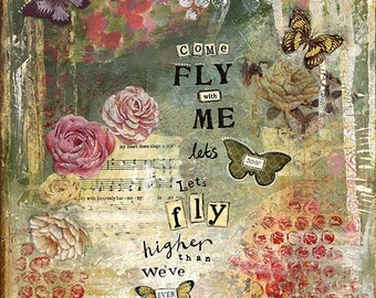 A4 Fine Art Print of 'Come Fly with Me, let's soar' - from an original Mixed Media painting by Karen Lindsay