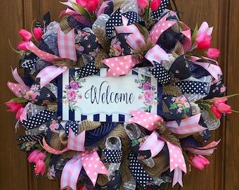 Spring Deco Mesh Wreath, Front Door Spring Wreath, Floral Deco Mesh Wreath, Spring Tulip Wreath, Burlap Welcome Wreath, Spring Burlap Wreath