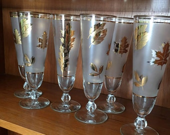 Set of 6 Gold Leaf and Frosted Libbey Pilsner Glasses -Fall Foliage