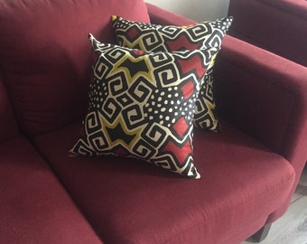 """African Print Throw Pillow Case -- 16"""" x 16"""" -- Insert Not Included, Wax Fabric, Ankara Throw Pillow Cover, Tribal Fabric"""