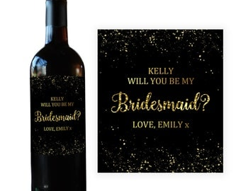 Bridesmaid Wine Bottle Label, Will You Be My Bridesmaid Gift Wine Label Maid of Honor Bridesmaid Proposal Asking Bridesmaid Label BM022