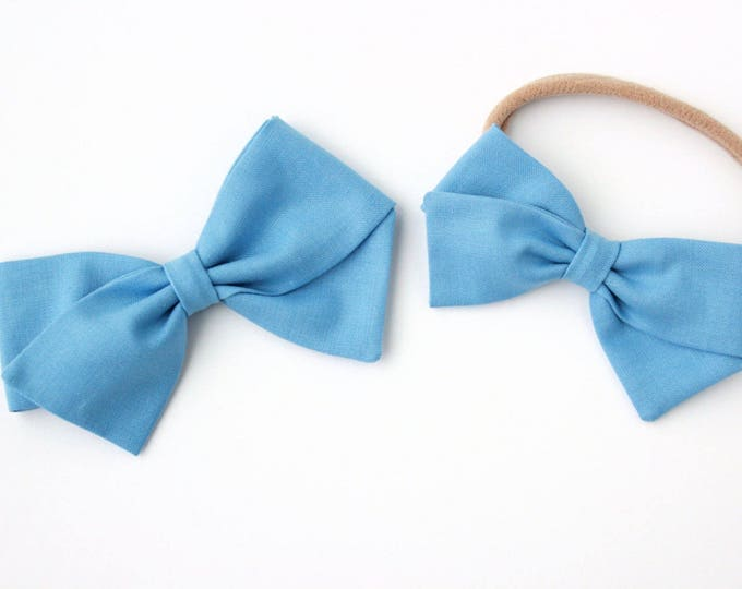 Sky Blue Hair Bow - Fabric Hair Bows for Girls - Nylon Headbands and Hair Clips for Girls