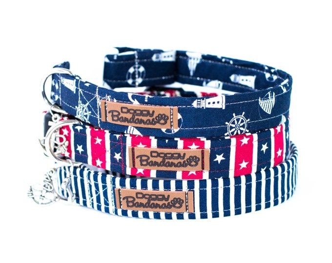 Dog Collars Navy Blue Dog Collars Boy Trendy Dog Collar Designer Male Dog Collar Small Large Dog Collar Custom Dog Collars for Dogs