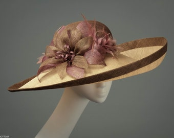 Eleonor, Chocolate, honey and taupe formal hat, Brown romantic wedding hat, Large statement ascot hat with flowers