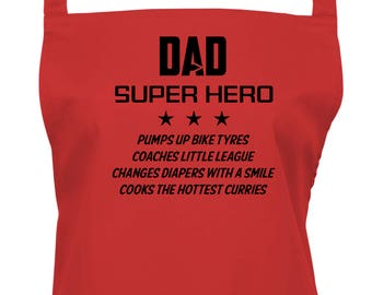 """Personalized Mens Apron """"Dad, Super Hero"""" and His Four Super Powers, The Perfect Fathers Day Gift. Choice of 16 Great Colours,  1141"""