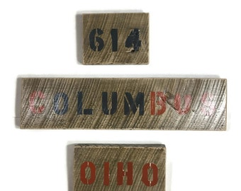 wood state sign, ohio sign, ohio state wood sign, block letters, city signs, custom state wood signs, ohio décor, state artwork, city art