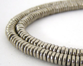 220 Kenyan Silver Plated Brass African Heishi Beads - Spacer Beads - 1x3mm