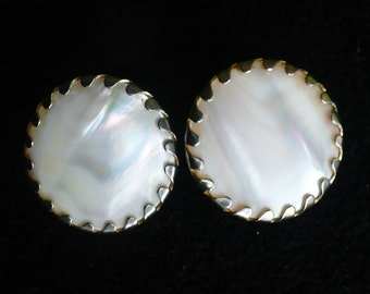 Vintage S.A.C. Sarah Coventry Round Mother-of-Pearl with Gold-tone Setting Clip-on Earrings