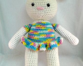 Ballerina Bunny Doll, 16 in amigurumi doll, toy, bunny plush, Crochet bunny, amigurumi bunny, Ballerina, Stuffed Animal, crochet rabbit