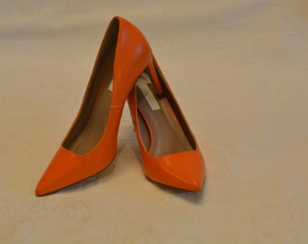 High Heel Dorothy Perkins Orange Faux Leather women shoes Wide Fit Size 5
