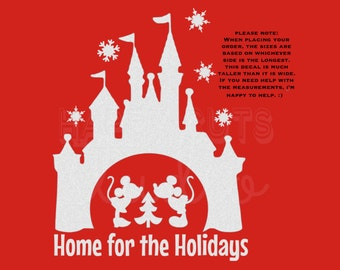 Disney Christmas Castle in White Glitter Vinyl Home for Christmas Mickey Mouse Minnie Matching Family Disney Iron On Decal Vinyl 4 Shirt