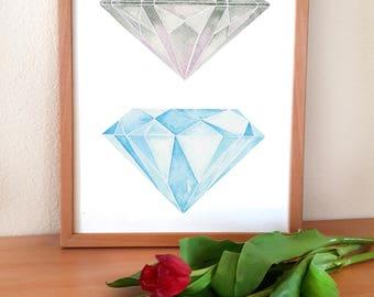 A5 Print Diamonds / print, art, watercolor, limited, diamond, gemstone, gems, illustration