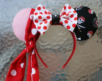 Pirate Minnie Mouse Ears with Red and White Scarf