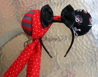 Pirate Minnie Mouse Ears with Black Bow