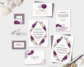 Build Your Own Plum Invitation Suite DIY Wedding Invite PDF Boho