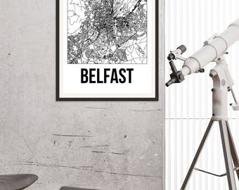 Belfast City Map Print - Black and White Minimalist City Map - Belfast Map - Belfast Art Print - Many Sizes/Colours Available