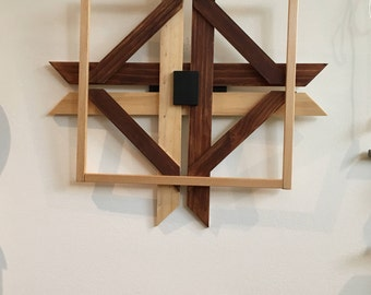 Multi Color Wood Cross/Box Wall Hanging/Folk Art/Contemporary/Tribal
