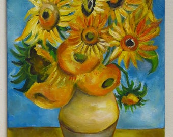Sunflowers by Vincent van Gogh, Reproduction, Oil Painting on Canvas, Made to Order, Hand Painted, Various Size, Classic Paintings, MikiMayo