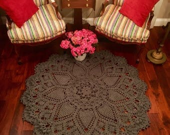 Gray Doily Rug - Crochet Lace Rug - Farmhouse Decor - Area Rug - Wedding Gift - Pineapple Doily Rug - Handmade Rug - Nursery Room Decor