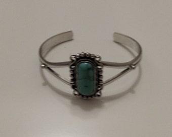 Antique silver green topaz bracelet