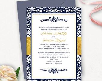Elegant Wedding Invitation Template / Damask Wedding Invitation Printable / Navy Wedding Invitation Template