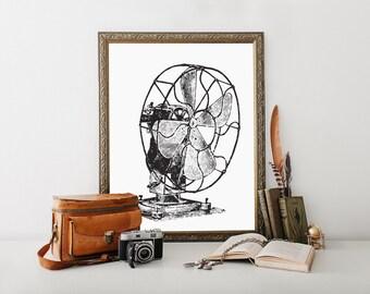 Farmhouse Decor, fan art, vintage fan, antique fan, vintage prints, vintage art, vintage wall decor, vintage wall art, printable, art prints
