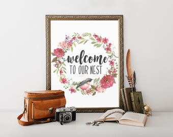 Welcome Sign, printable, our nest sign, our nest, welcome to our nest, entryway decor, entryway sign, entryway, foyer, wall art, wall decor